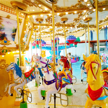 2018China factory small outdoor or indoor playground equipment 24person carousel horse for sale