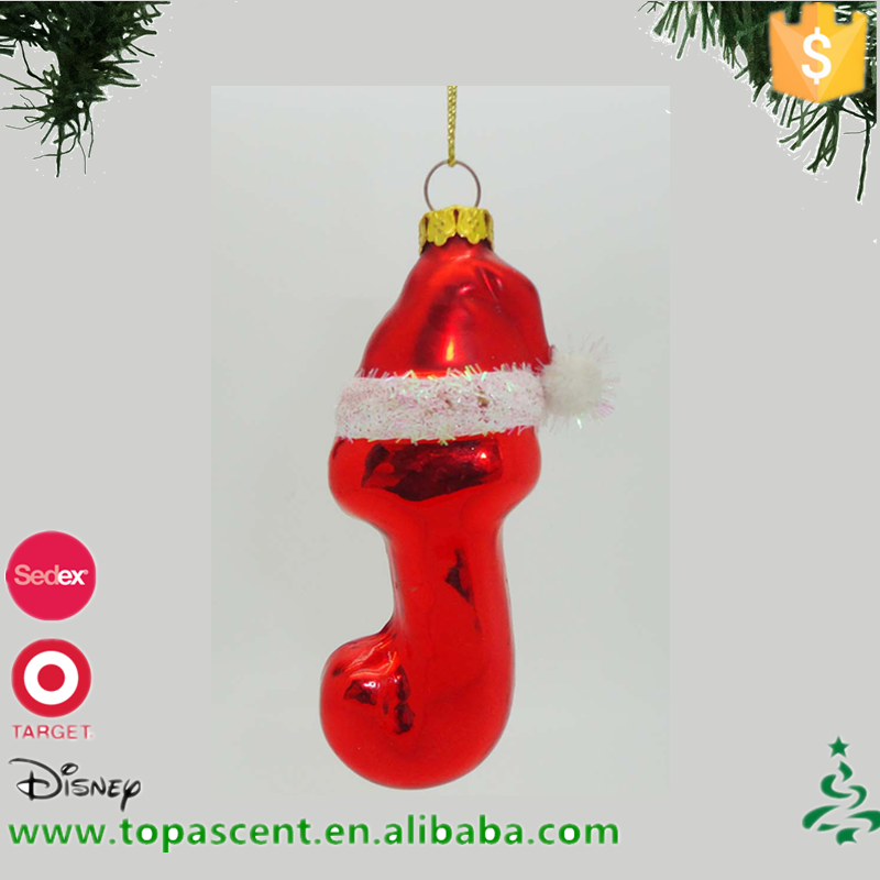 Blown glass <strong>christmas</strong> hanging J with x'mas hat ornament for decoration