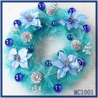 Merry christmas! cheap wholesale new arrival christmas decoration sky blue flower nice christmas tinsel garland