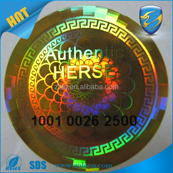 Golden laser tamper proof anti-fake Golden laser holography trademark, guaranteed genuine hologram sticker at fair price