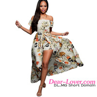 2016 Wholesale Very Hot Women Pretty Beige Multi Color Floral Printed Maxi Dress