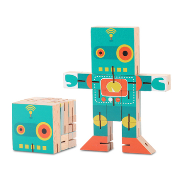 Transformation Wood Robot Action Figures Toy Classic Collection Kids gifts Educational Funny Toys For children