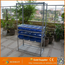 Bin Rack Trolley Powder Coated Steel Shelf