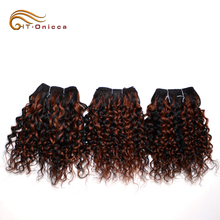 Raw Cuticle Aligned Brazilian Deep Curly Ombre Hair Weave, Virgin Hair Vendors Paypal Accept