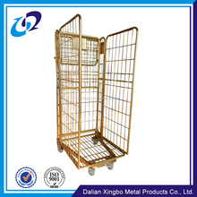 Warehouse storage equipment Customized welded metal transport roll cage trolley