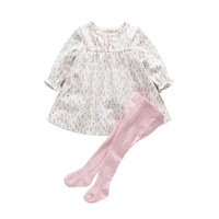 High quality pink infant's 100% cotton knitted tights set and baby girls dress designs
