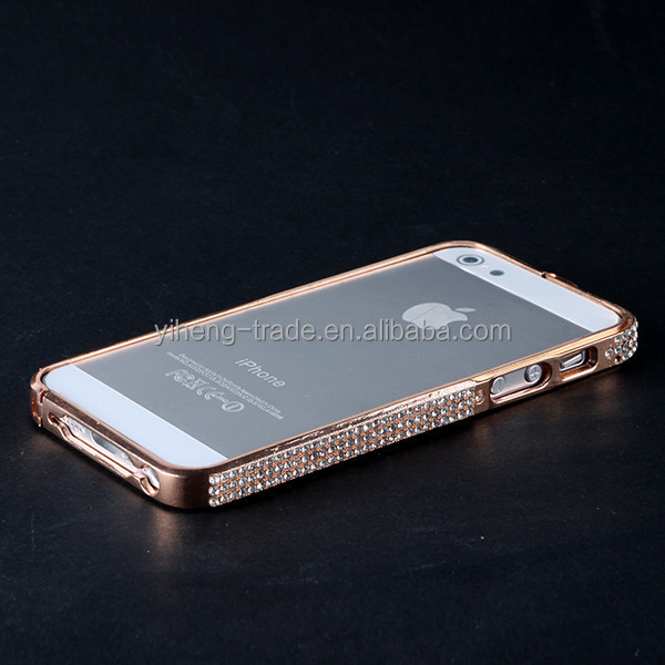 Luxury Wholesale Gold Diamond case Metal women Bumper Frame Bling Case For iPhone 5 5g 5s 4s 4 Bumper