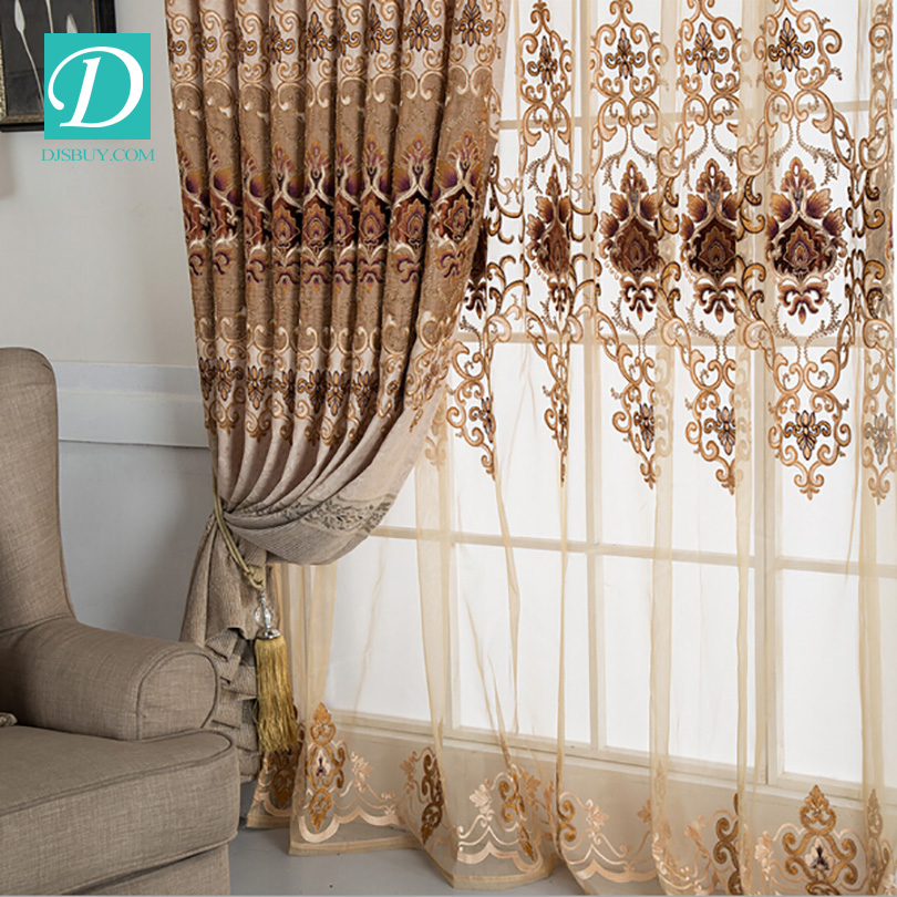 High end design floral bedroom curtain and drapes