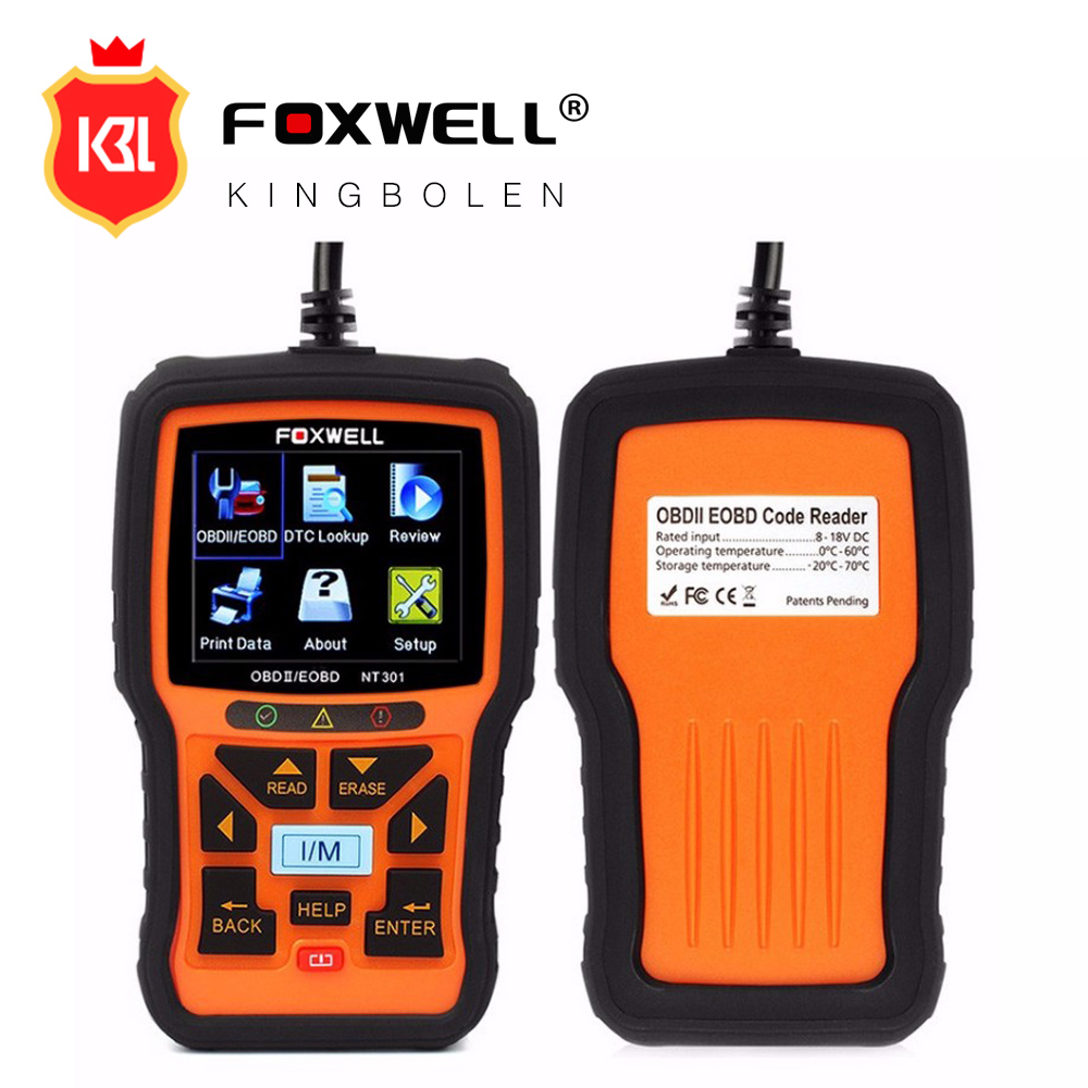 Foxwell NT301 Auto Diagnostic Tool Universal OBD2 Scanner Engine Scanner Fault Code Reader with O2 sensor Same As Autel AL519