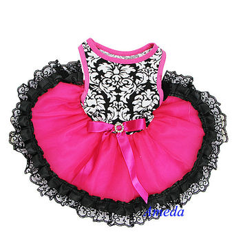 NEW Black Damask Hot Pink Black Lace Tutu Pets Dogs Clothes Party Dress XS-L