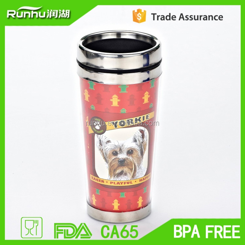 stainless steel inner plastic outer coffee travel mug with paper photo insert RHSP302-16