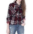 Fashionable lady flannel lined quilted plaid cotton shirt long sleeve shirt