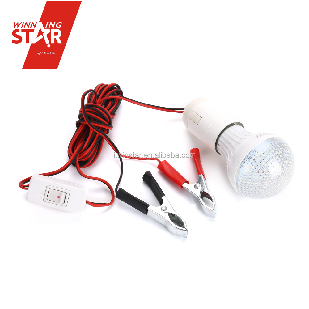 High Quality DC 12V LED Bulb Light With Wire Alligator Clip LED Lamp With Wire And Switch