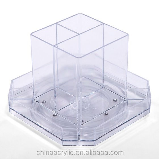 small rotating desk accessories set acrylic storage box organizer