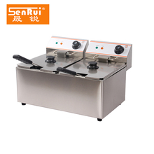 Top Quality Stainless Steel Double Tanks Double Baskets Commercial Kitchen Equipment Electric Fryer/Fish/Chicken/Potato