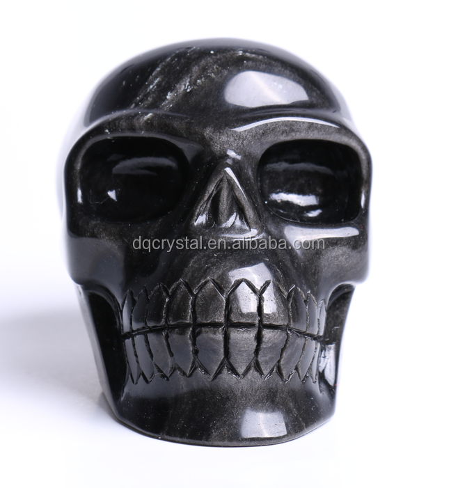 Charming Natural Rock Stone Silver Obsidian Carved Human Crystal Skull for decoration
