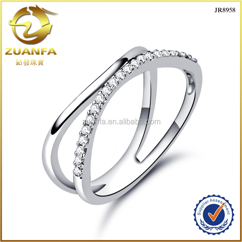 simple design fashion stylish sterling silver micro pave cz rings thailand