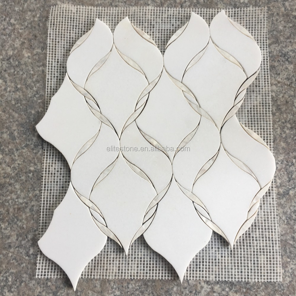 Italian pure white marble and mother of pearl mosaic water jet cut