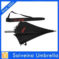 2015 summer printing UV coated straight umbrella with shoulder girdle on the pouch