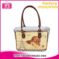 2015 French Lady Printing Tote Bags Handbag Women Leather Bag Wholesale