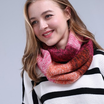2018 new wool knitted infinity scarf women soft 100% acrylic thick neckline winter scarves