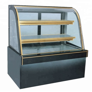 New style golden frame table top commercial counter cake display fridge