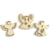 Angels with Hearts Flowers or Stars Wooden Craft Shapes Embellishment Tags