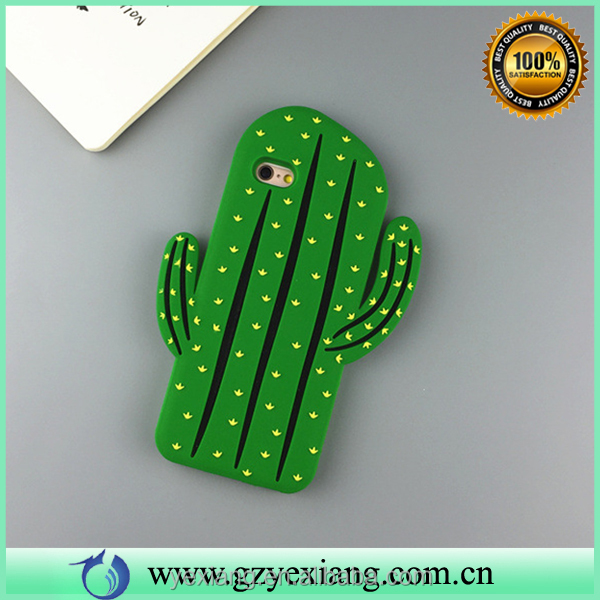 2016 stylish cactus design silicone back case cover for iphone 5 mobile cover case