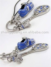 fashion alloy badminton racket keychain with shoes