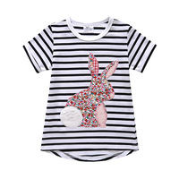 2016 new strip girls t-shirts with chest print embroidery designs 100% cotton kids children tshirt 300