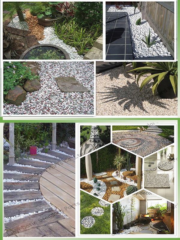 Landscaping pea gravel colored garden rocks smooth white for Smooth river rocks for landscaping