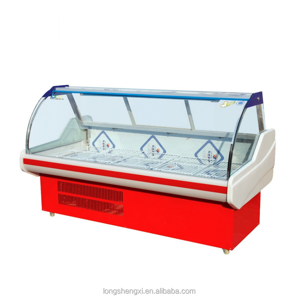 Supermarkets display cabinet/showcase/chiller/refrigerator/fridge/cooler counter for fresh meat/beef
