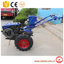 Diesel power tiller mini walking behind tractor with plough