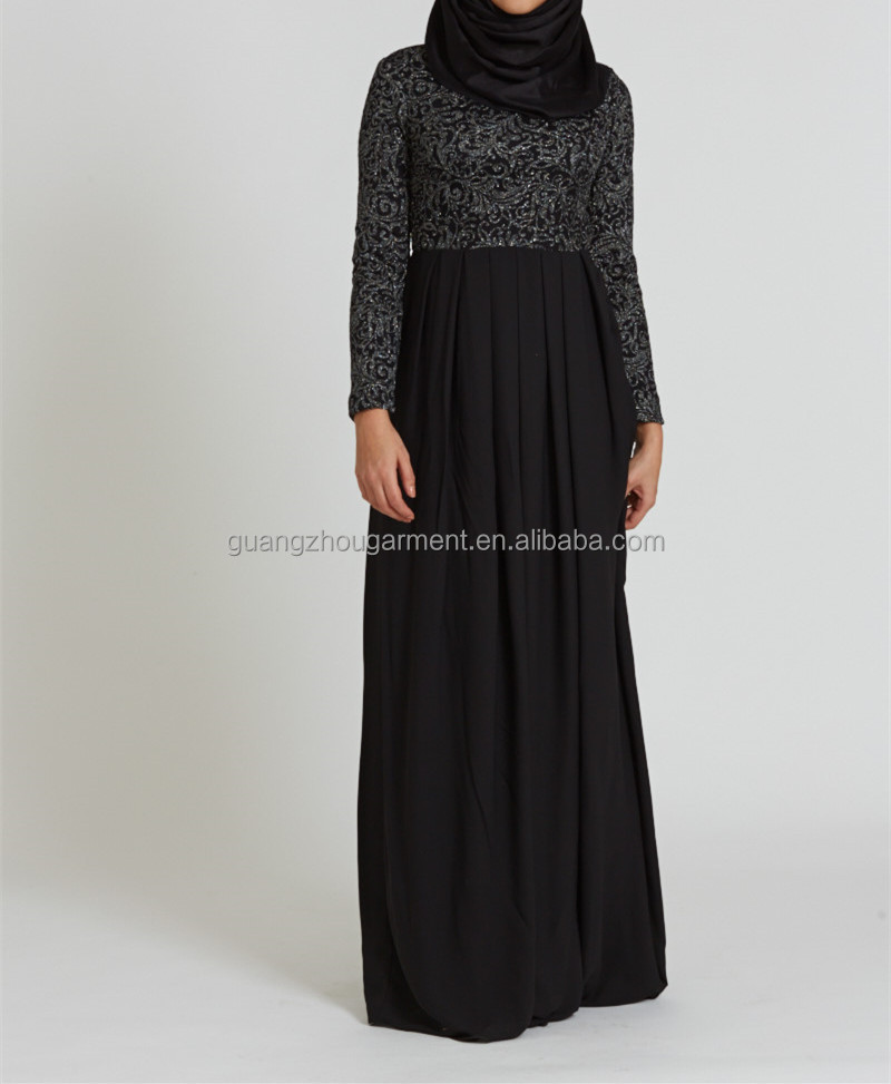 dubai clothing oem Crew Neck Silver Noir Women islamic abaya dresses long Muslim Evening Abaya Gown