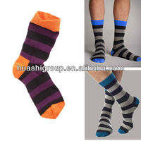 men striped crew socks with bright color top