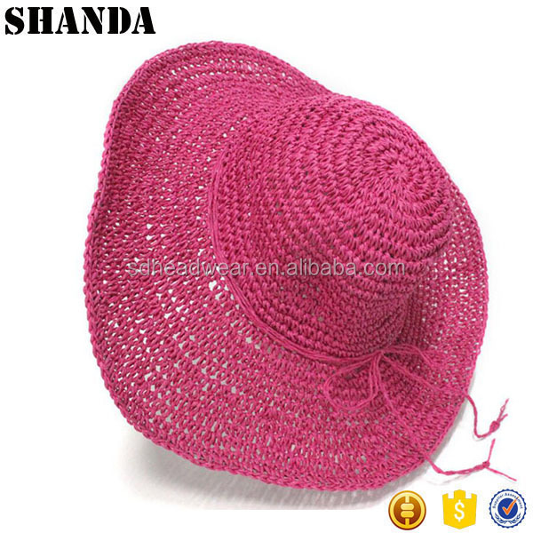 check paper straw hat custom lady summer beach hat with bowknot