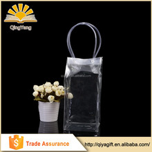 Transparent customized promotional clear pvc wine bottle holder with handles
