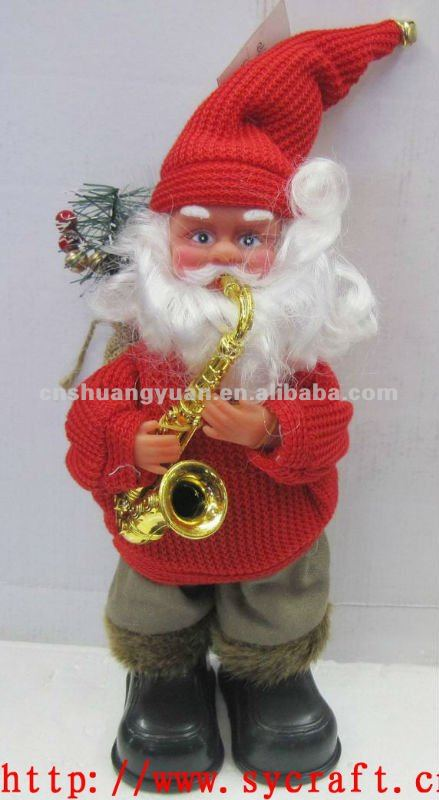 standing christmas father /christmas ornament santa/playing sachs santa claus
