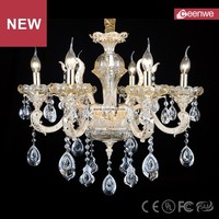 Hot sale European Traditional Living room Gold 6 lights Zinc alloy Crystal crystal chandeliers made in china