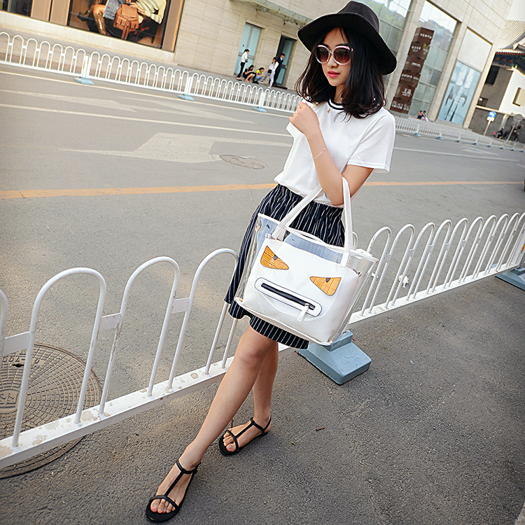 Promotional cheap transparent tote women clear pvc handbags bag with zipper