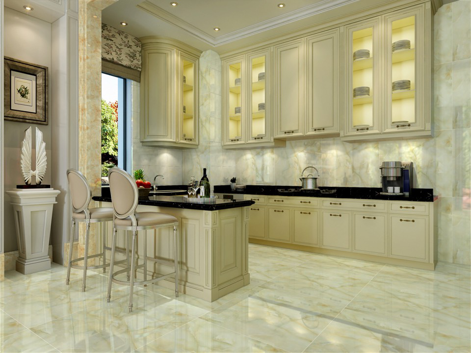 Transparent kitchen floor tile