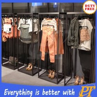 Wood/metal wholesale clothing store shop fitting display racks shelves