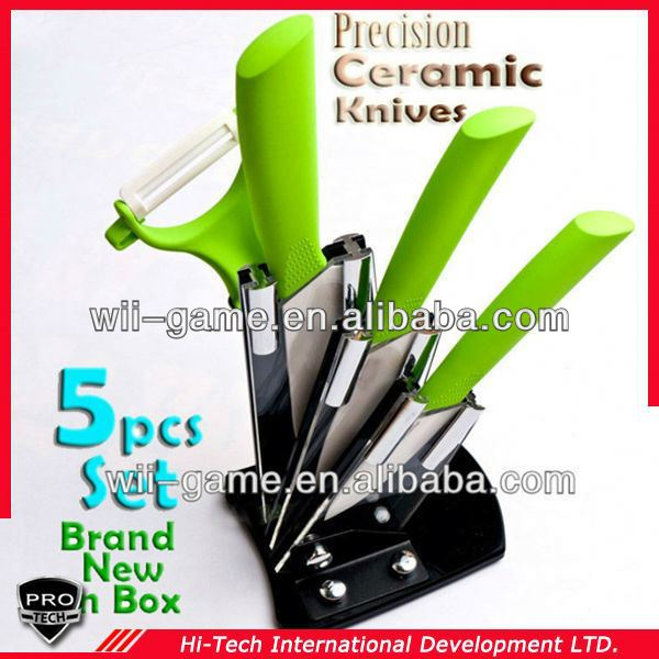 PT-CRMC05 5 Piece Colorful ceramic green handle knife High quality Kitchen Set