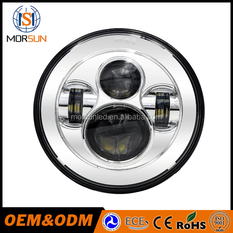 Morsun 7 Inch Chrome LED Projector Daymaker Hi/Lo Beam Headlight for Harley Davidson Motorcycle