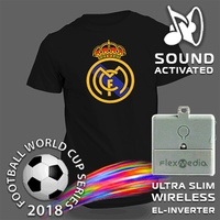 2018 Custom Football Series Led Sound Activated Wireless El Flashing Panel T Shirt