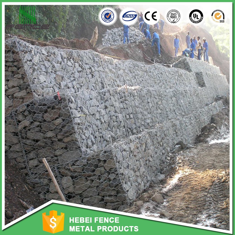 Hot diped galvanized wire cages gabion rock retaining wall