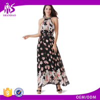 2016 Guangzhou Shandao Brand Name New Fashion Design Summer Beautiful Women Sexy Sleeveless Floral Printed Chiffon Maxi Dress