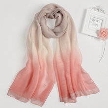 High quality fashion women long neckerware pashmina gradient color sliver wire bottom chiffon silk wool Malaysia pareo sarong