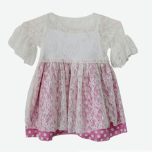 Kids Frock Design Wholesale Boutique White Lace Short Sleeve Angel Dress for Baby Girl