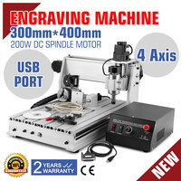 CNC Router Engraving Machine Engraver Machine 3040T 4 Axis Desktop Wood Carving Tools Artwork Milling Woodworking w/ Rotary Axis